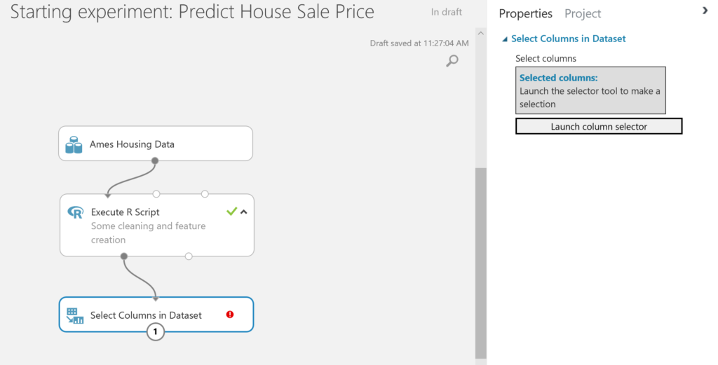 Predict House Sale Price - start select columns