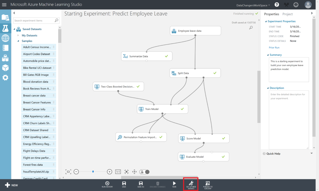 Predict Employee Leave - Set up web service with Azure Machine Learning Studio