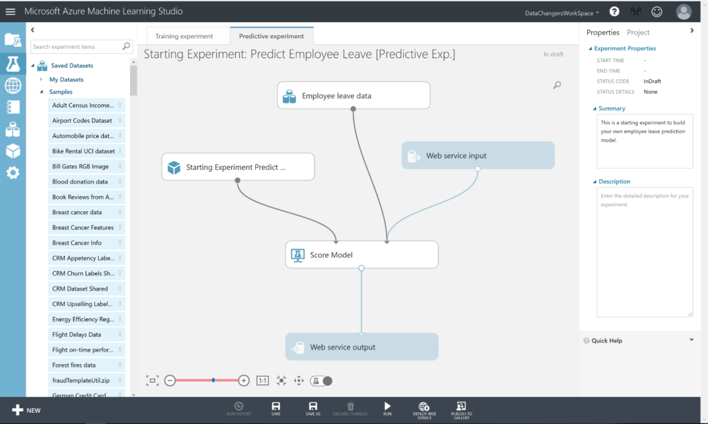 Predict Employee Leave - Published Azure Machine Learning model