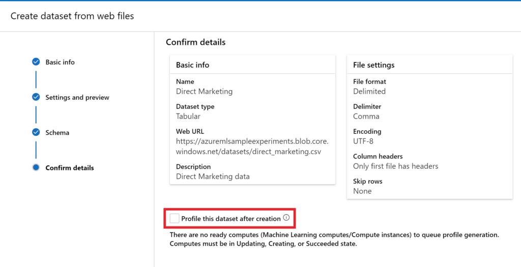 direct marketing ai workshop - confirm settings